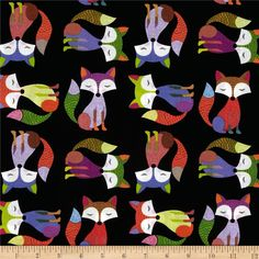 Foxy Owl Fox Black from @fabricdotcom  Designed for Timeless Treasures, this cotton print is perfect for quilting, apparel and home décor accents.  Colors include black, white, grey, red, orange, yellow, green, blue, pink and purple.