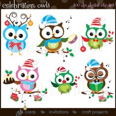 Celebration Christmas Owls - Digital clip art owl images, in high resolution, Png and Jpeg clip art files. Christmas Owls, Funny Christmas Cards, Christmas Clipart, Christmas Humor, Christmas Crafts, Clipart Noel, Embroidery Designs, Owl Clip Art, Funny Owls