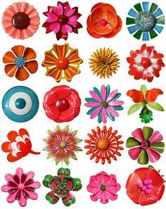 Vintage Flower Brooches by design_ski on Flickr.  So happy!