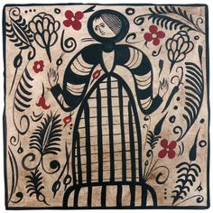 Hand-painted ceramic tile featuring a medieval lady.