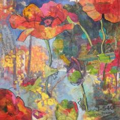 Trashy Poppies collage, painting by artist Kay Smith