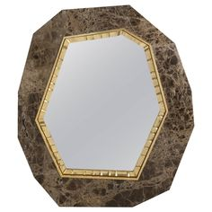 """Lucy"" Marble and Bronze Wall Mirror by Achille Salvagni 