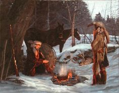 fur traders and mountain men | Fur Trade Era Paintings by John Phelps 4