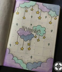 35 Beautiful and Enchanting November Bujo Ideas for Your Bullet Journal - - Doodle ideen - Bullet Journal Month, Bullet Journal Notebook, Bullet Journal Spread, Bullet Journal Ideas Pages, Bullet Journal Layout, Bullet Journal Inspiration, Bullet Journals, Bullet Journal November Ideas, Diy Journal Cover Ideas