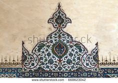 SEPTEMBER 24,2010 EDIRNE TURKEY.Ancient Ottoman iznik tile composition at Selimiye Mosque in Edirne.