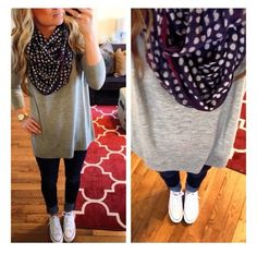 Perfect outfit. Oversize top, fun scarf, skinny jeans or leggings, and converse shoes!