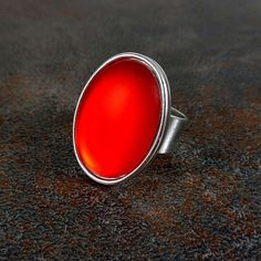 Statement Ring Red Silver Oval Ring Cocktail Ring Rings by Pilboxx
