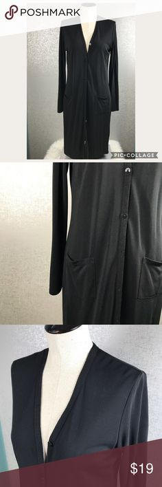 DKNY Longer Length Cardigan DKNY Longer Length Cardigan SIZE Medium Black Button Closure With Pockets Dkny Sweaters Cardigans