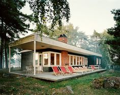 """...mid-century modern home isolated on an island in the northern swedish archipelago."" / sfgirlbybay"