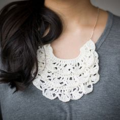 "Crochet this delicate, beautiful, three-tiered bib necklace, a stunning statement piece on any outfit!  Free pattern via ""A Common Thread""!"