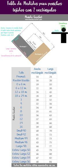Tabla de medidas para ponchos tejidos con 2 rectangulos a crochet ganchillo 2 agujas palillos