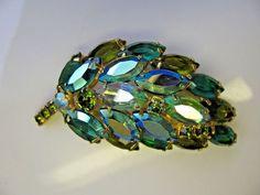 D&E Juliana Green Chartreuse Open Back Marquise AB Rhinestone Leaf Brooch Pin #Juliana