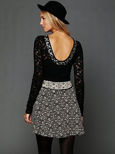 Lace Fancy Low Back Top + Print Skirt