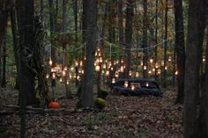 Our wedding ceremony location ( taken before ceremony, almost sunset) , lit by mason jar lanterns we made Photo by Mike Anderson