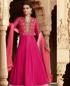 Buy Taking Pink Anarkali Salwar Kameez online at  https://www.a1designerwear.com/taking-pink-anarkali-salwar-kameez-11  Price: $66.76 USD