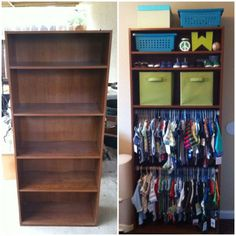 DIY Closet - Short on storage space? Here's a simple solution! Convert a bookcase into a functioning closet by taking out a couple of the shelves and hanging up pressure rods. Bonus: since baby's threads are on display, you're forced to keep them neat and orderly.