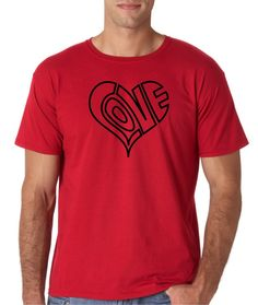 Mens Love Heart Outline Red Valentines Day T Shirt Tee 6ac82800b