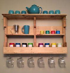 My new DIY pallet shelf for my David's Tea collection. #diy #palletshelves #palletart #davidstea