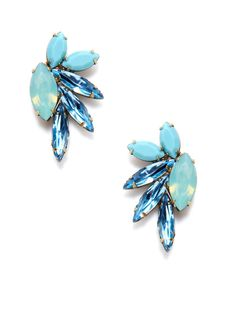 Blue Mohawk Drop Earrings by Elizabeth Cole on Gilt