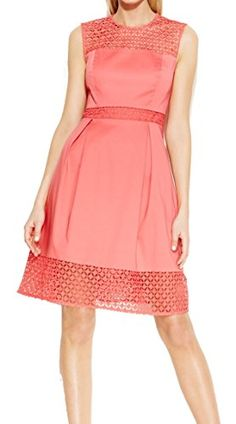 Calvin Klein Womens Lace Trim Sleeveless Flare Dress Petite 12 Coral -- Check this awesome product by going to the link at the image.