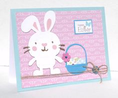 Happy Easter with Bunny and Blue Basket Greeting Card by sophienme, $4.25