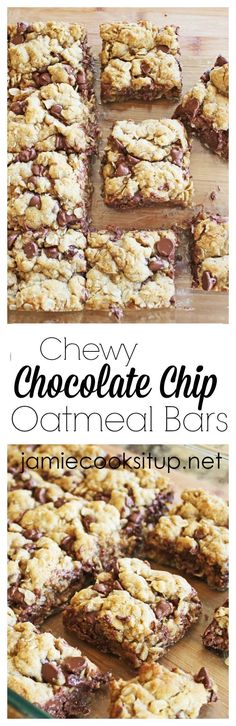 Fabulous, chewy and loaded with chocolate chips and oats, these chewy chocolate chip cookie bars are a must make!