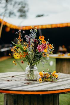 Wild Meadow Flowers Wildflowers Yellow Colourful Stretch Tent Wedding Peter Mackey Photography - Tents - Ideas of Tents Wildflower Centerpieces, Simple Wedding Centerpieces, Wedding Flower Arrangements, Wedding Bouquets, Wedding Decorations, Centerpiece Flowers, Aisle Decorations, Wedding Ideas, Centerpiece Ideas