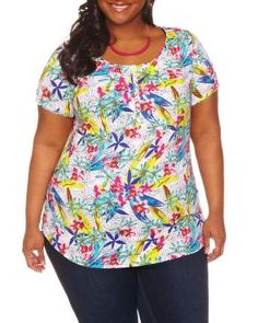 Plus Size Scoop neck popover blouse | Penningtons