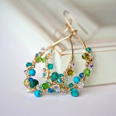 Wire wrap mixed bead earrings