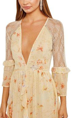 e0cf59c3e9e97 Ivory Lace Embellished Skater Floral Casual Maxi Dress