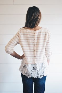 Light Pink Stripe + Lace Blouse