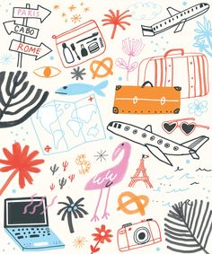 How to Find Cheap Airline Tickets (Oh Happy Day! Abstract Illustration, Travel Illustration, Pattern Illustration, Digital Illustration, Stoff Design, Cheap Airlines, Airline Tickets, Tickets Online, Cheap Tickets