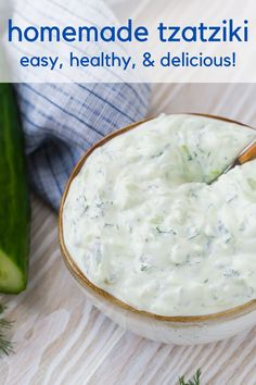 Creamy homemade tzatziki, an authentic Greek cucumber yogurt sauce, is easy to make and so delicious! Use tzatziki in a variety of ways, as a dip, dressing, or sandwich spread. Vegan Tzatziki, Tzatziki Recipes, Tzatziki Sauce, Homemade Taziki Sauce, Homemade Tzatziki, Homemade Dressing Recipe, Sauces, Cucumber Yogurt Sauce, Cream Cheese Sauce