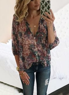 Floral Casual Polyester V-Neckline 3/4 Sleeves Blouses