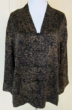 Chico's Size 2 (L)  Silk Long Sleeve Asian Style Frog Closure Black/Brown Top #Chicos #Blouse