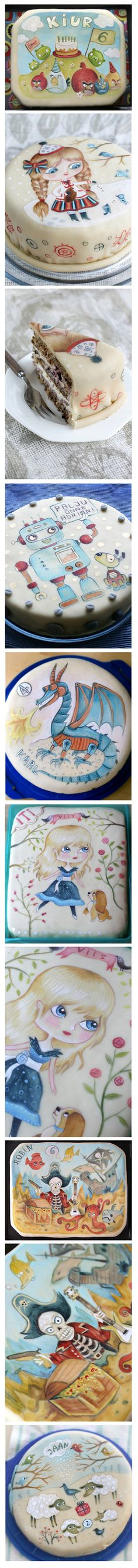 Painted cakes by Elina Sildre