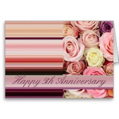 5th Wedding Anniversary Card - Pastel roses stripe