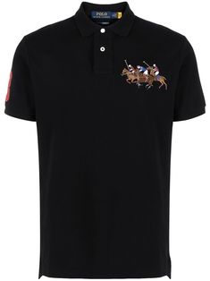 Embroidered Polo Shirts, Polo Ralph Lauren, Polo Jeans, Cotton Logo, Black Cotton, Size Clothing, Boy Outfits, Short Sleeves, Menswear