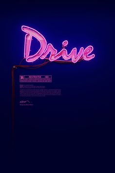 set for Drive designed by Belgian artist Rizon Parein that features a stunning pink neon sign made as the logo in the film.Poster set for Drive designed by Belgian artist Rizon Parein that features a stunning pink neon sign made as the logo in the film. Drive Poster, Poster S, Creative Typography, Typography Art, Lettering, Pink Neon Sign, Neon Signs, Neon Purple, Black Neon