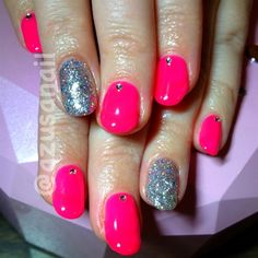 neon pink nails by azusa barbie #nailart #nail #nails #japanese #gelnail #glitter #neonpink