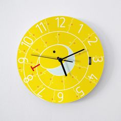 Snake wall clock - yellow : high quality reproductions from original izzybizzy illustrations