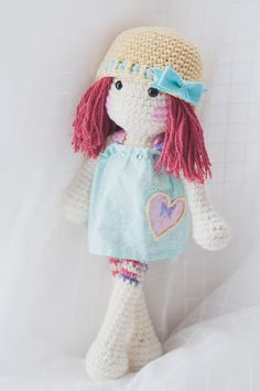 Handmade crochet red head rag doll with teal by LinaMarieDolls