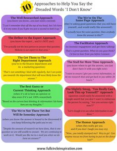 """10 Approaches To Help You Say the Dreaded Words """"I Don't Know"""""""