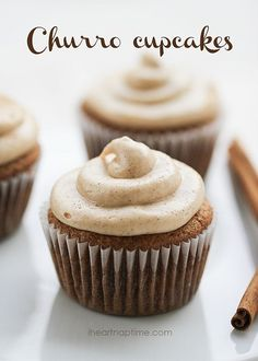 Churro Cupcakes with Cream Cheese Frosting @rbubp                                                                                                                                                     More