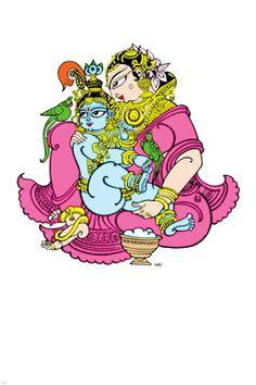 తల్లీ బిడ్దలు ... Yasoda Krishna... Bapu painting ... marvellous..!