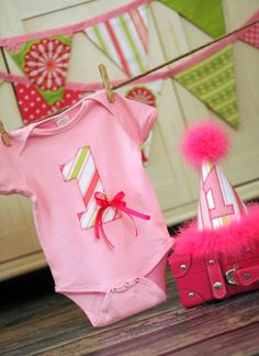 Girls Birthday Party Hat and Onesie Bodysuit - First Birthday, Smash Cake Pics, Photo Prop - Pink and Green. $42.00, via Etsy.