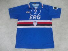 Sampdoria Home football shirt 1993 Football Uniforms, Football Kits, Football Jerseys, Classic Football Shirts, Vintage Shirts, Retro, Tacos, Polo Ralph Lauren, Soccer
