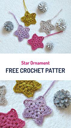 Star Ornament Free Crochet Pattern #crochet #stars #homedecor #diy #crafts