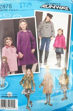 Simplicity Project Runway Sewing Pattern 2876 Girls Coat Jacket Hat Uncut #Simplicity