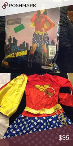 XL Wonder Woman costume with crown , XL Wonder Woman costume with crown ,all accessories included: sleeves, belt, cape and crown. Other